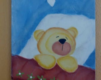 """Hand painted wooden plaque """"Goodnight"""""""