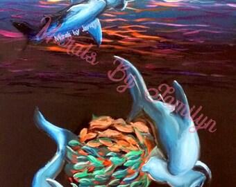 """Ring of Fire   Hammerhead Shark Art Print   13"""" x 19"""""""