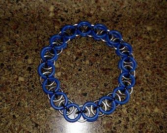 Blue and black single middle link helm chain bracelet