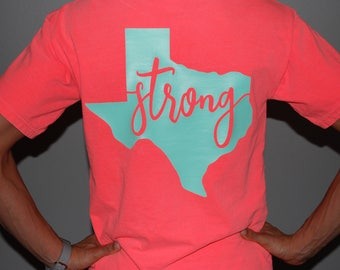 10% OF all money will go to harvey help Texas Strong W Monogram tee