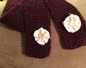 Hand knit Wool Scarf Deep Burgandy with Cream Burlap and Button Flowers