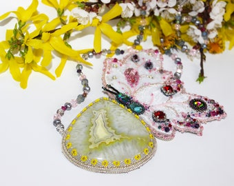 Necklace,Jewellery,Stone necklace,Yellow necklace,Beading,Bead necklace,Beaded necklace,Present,Flower jewelry,Beaded jewelry,Agate necklace