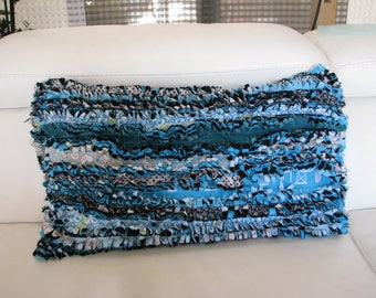 Cover cushion fabric turquoise cotton Rag quilt