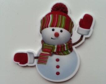 cabochon plat en résine bonhomme de neige noel  50*48mm