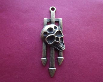 Bronze trident and skull charm/pendant