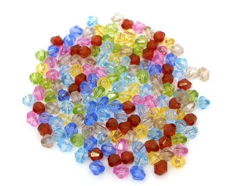 100 6 mm transparent acrylic bicone beads