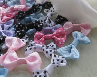Set of 6 bows with polka dots polyester