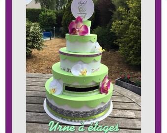 Urn / envelopes wedding cake box romantic Orchid