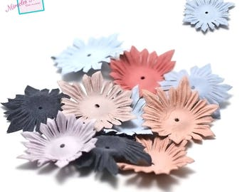 10 flowers in faux leather (suede) 53 x 1 mm, assorted color