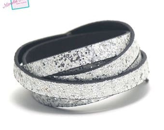 """1 m cord strap of split leather 10 x 2 mm """"Nugget"""", white"""
