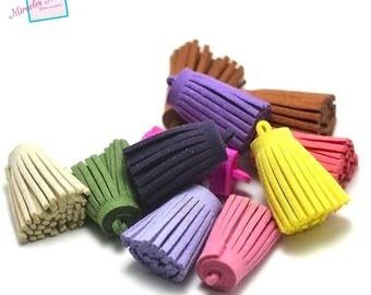 8 large tassels suede 35 x 18 mm, assorted color