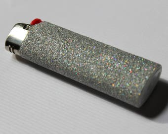 Silver Holographic Glitter BIC Lighter