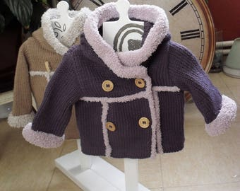 Hand knitted dark purple color coat