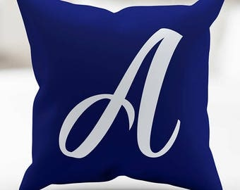 Monogrammed Script Royal Blue and White Pillow Cover 18 x 18 Inches for Sofa Couch Bed Home Decor