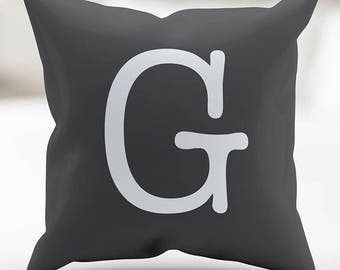 Monogrammed, Pillow Cover, Pillow Case, Type Charcoal Gray and White 18 x 18 Inches, Home Decor, Throw Pillow