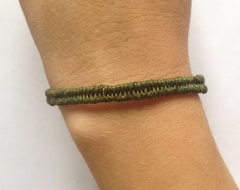 Braided waxed cotton khaki and yellow bracelet, bronze clasp