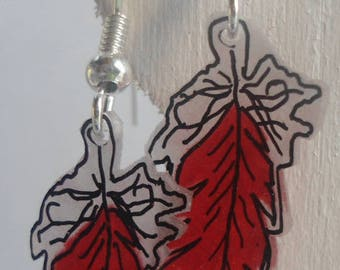 Red Feather-leaf stud earring