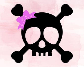 Halloween SVG |  Skull |  Skull Bow SVG | girly skull | girl skull| girl haloween tshirt idea | Cross Bones | pirate skull | Halloween SVG