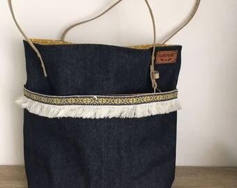 Jeans boho tote bag