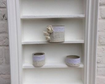 Built in shelf wooden white frame