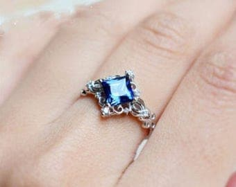 Antique Styling and fine filigree Blue Topaz and  925 Silver Ring