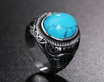 Vintage Turquoises Ring, Titanium Stainless Steel- Feature: Anti-allergic / Never fade / Never rust