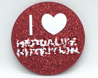 2.25 Red Bling I Love Button