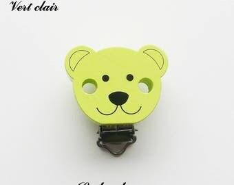 Clip / bow, wooden pacifier Clip, Teddy bear: light green