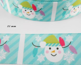 Ribbon grosgrain blue of water square snowman 25 mm sold by 50 cm