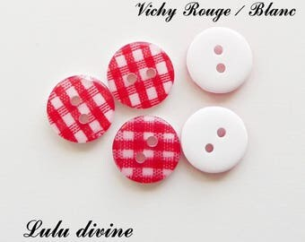 Set of 5 buttons round 13 mm 2-hole: gingham red / white