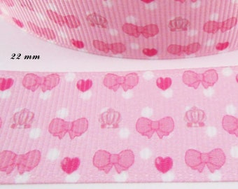 Pink grosgrain Ribbon with white dots, pink bow heart carriage 22 mm sold by 50 cm