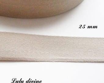 Ribbon Twill Beige 25 mm 2.50 cm the meter