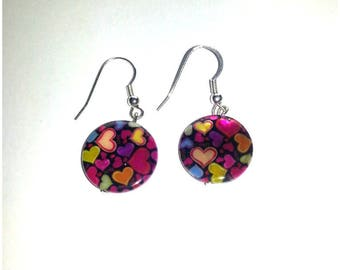 colorful hearts cabochon earrings