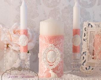 Vintage Unity Candle Set, Unity Candle Set, Wedding Unity Candles, Wedding Candles, Lace Unity Candle,Unity Candles,Candles Wedding Ceremony