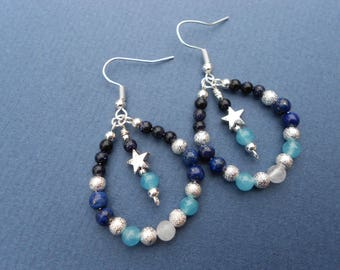 Celestial drop earrings, semi precious stone earrings, star earrings