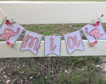 Girls elephant baby shower banner, it's a girl, nursery decor,  Welcome Baby, Nursery Sign, Name, Custom Banner, Floral, Baby Girl, Birthday