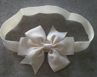 baby girl headband pattern beige bow