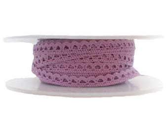 Trim lace purple 6 mm - 6 mm purple cotton lace Ribbon - purple lace cotton scalloped small 6 mm