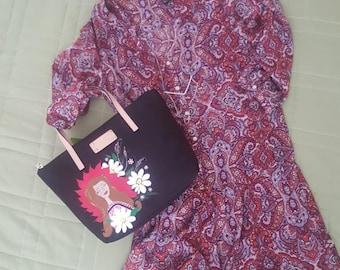 hand painted designer handbag