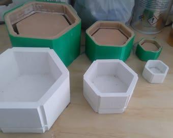 3 molds pack hexgonal pot planter flower pot, molde para maceta de concreto