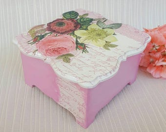 Jewelry box pink Jewelry storage box Decoupage box wood Wooden storage decoupage box Handmade jewelry keepsake Pink box with flower