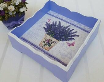 Decoupage wooden pot, Wooden purple pannier, Wooden pot, Kitchen decor, Trug basket purple, Wooden kitchen basket, Kitchen plate wood