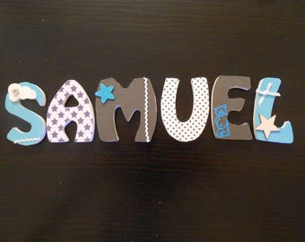 Custom blue cloud SAMUEL theme wooden letters