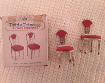Petite Princess Fantasy Family furniture,ideal 1964,dollhouse furniture,collectables,vintage dollhouse furniture, guest dining chairs