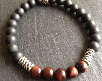 Bracelet dad Gemini, Leo, Virgo, Sagittarius, Capricorn, black onyx stones and bull's eye