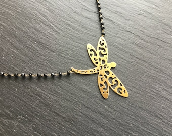 Necklace plated large Dragonfly gold black Crystal beads