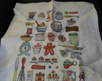 Baking sampler completed cross stitch