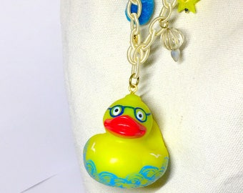 Bag charm key holder chain Japanese Czech beads blue sea rubber duck