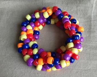Rainbow Kandi Bracelet Cuff Large Handmade