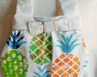 "Printed fabric handbag ""pineapple"""